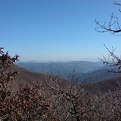 Mountain scenery at Jogyesan Provincial Park.