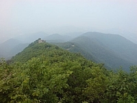 Misty mountain scenery from Moaksan Park, seen while hiking Korea's mountains.