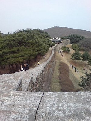 Walking along the fortress wall at Sangdang Sanseong.