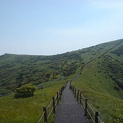 The trail along the top of the ridge at Sobaeksan National Park, seen during one of my Korean day hikes.