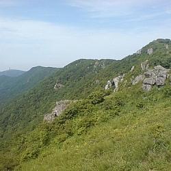 A view of the mountain range at Sobaeksan National Park, seen while hiking Korea's mountains.