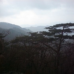 Misty scenery at Songnisan Provincial Park, seen while hiking Korea's mountains.