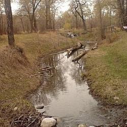 A creek running through Pearce Estates Park in Calgary.