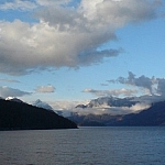 Mountain and ocean scenery seen on the ferry crossing to Saltery Bay, British Columbia.