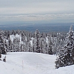 Panoramic views seen while exploring Vancouver on snowshoes at Mount Seymour Provincial Park.