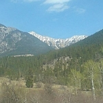 Mountain scenery while hitchhiking between Nelson and Invermere in BC.
