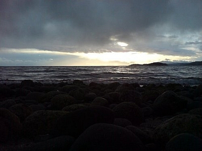 View of the Pacific seashore from somewhere near Saltery Bay, British Columbia.