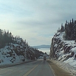 Driving behind another truck on Highway 17 along Lake Superior.