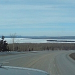 Lake Superior seen while driving westbound.