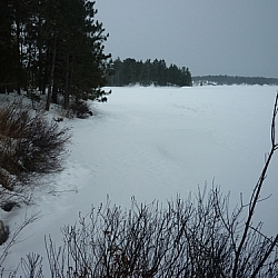 View of the Nipissing lakeshore from Lapin Beach.