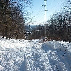 Snowmobile tracks along the Richardson Ridge Trail.