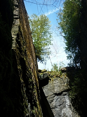 Looking up from inside one of the crevasses at Nottawasaga Lookout Park.