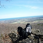 Enjoying the view over Nottawasaga Bay from a lookout point at Pretty River Valley Provincial Park.