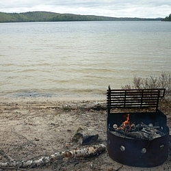 The firepit at our romantic backcountry beach campsite at Mississagi Park.