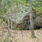 Huge boulder seen on the Helenbar Trail at Mississagi Park.