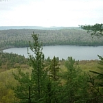Lookout point over Helenbar Lake at Mississagi Park.