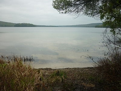 A view of Semiwite Lake while hiking toward our romantic backcountry beach campsite.