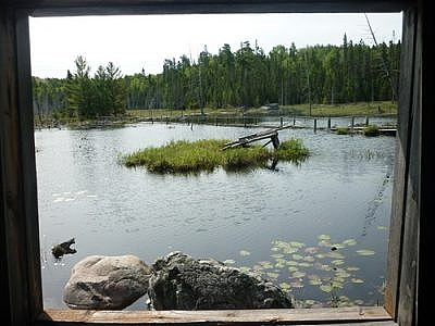 View from a cabin that stands next to a beaver pond along the White Bear Forest Trails in Temagami.