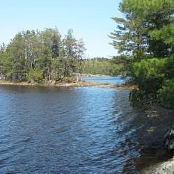 Walking the French River shoreline along Dokis First Nation's Papase Trail.