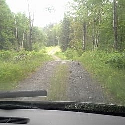 Driving down Rabbit Lake Road to the Grand Campment-Nagle loop trail head.