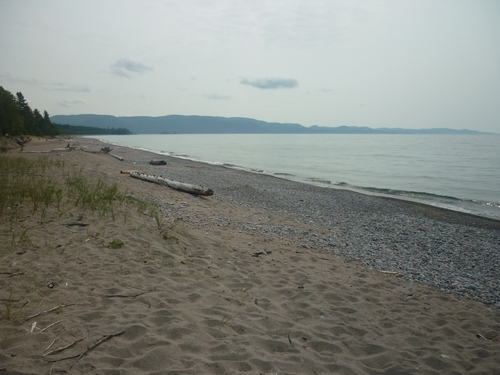 View of Agawa Bay from the beach at the Lake Superior Park Visitors Centre.
