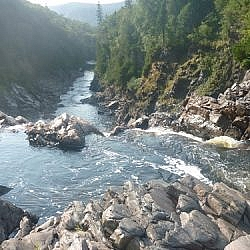 View of the Agawa River from Agawa Falls.