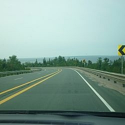 Highway scenery while driving out of Lake Superior Provincial Park.