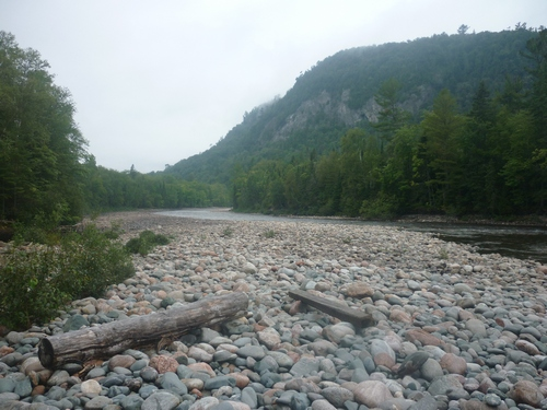 View of the rocky Agawa River shoreline from the Towab Trail.