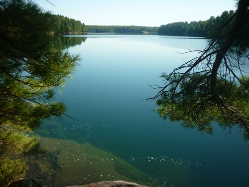 View of Big Clear Lake from the trail at Frontenac Park.