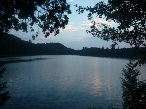 Sunset at Eu Lake, along the Western Uplands Trail at Algonquin Park.
