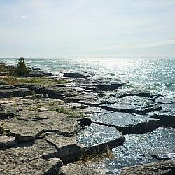 Scenery from the Coastal Alvar Trail at Misery Bay Provincial Park.