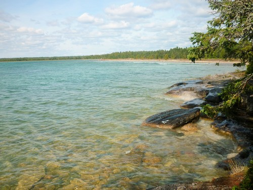 Clear waters on the coast of Misery Bay.