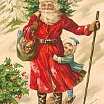 Traditional holiday greeting card for celebrating the holidays, featuring St. Nicholas on skis.